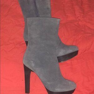Grey platform boots